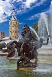 Detail of J.C. Nichols Fountain, Country Club Plaza in Kansas City with Moorish tower