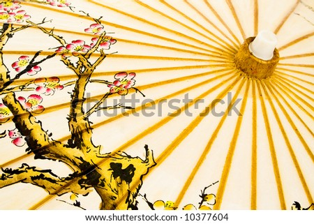 Detail of Japanese umbrella, isolated on white background.
