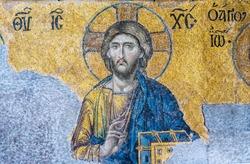 Detail of Jesus illustration in Byzantine mosaic