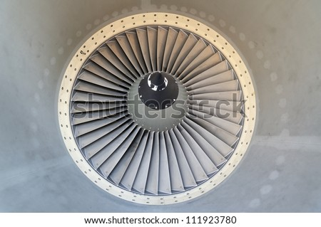 Detail of jet engine of airplane