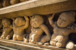 Detail of Kelaniya Buddhist Temple Decorated Stone Carving, Colombo, Sri Lanka