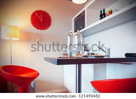 detail of kitchen corner of hotel suit - stock photo