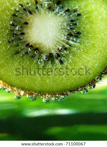 Detail of kiwi fruit in sparkling water