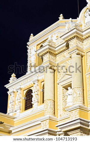 Detail of La Merced Church in Antigua. Seen late afternoon with dramatic sky.