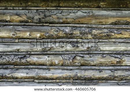 detail of log cabin built...