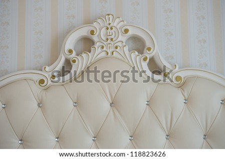 Detail of luxury bed. Interior