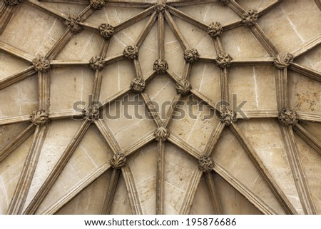 Detail of main entrance vault of Winchester Cathedral #195876686