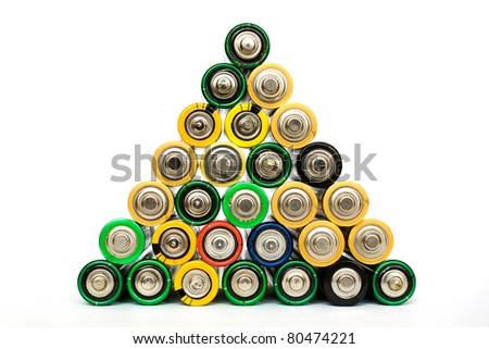 Detail of many assorted AA batteries stacked in a pyramid isolated on a white background