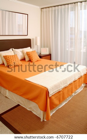 detail of modern bedroom decorated with tasteful - stock photo