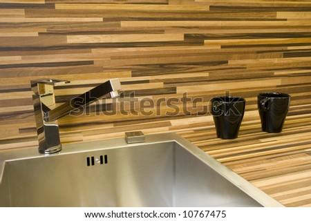 Detail of modern kitchen sink.