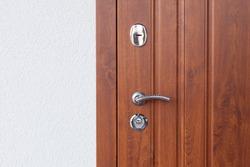 Detail of Modern style metallic door handle on wooden door