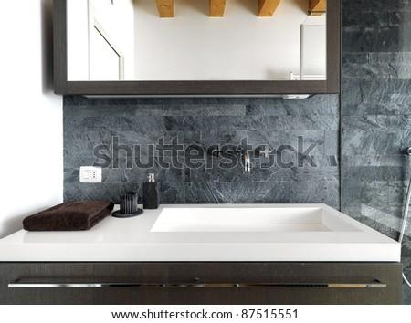 detail of modern washbasin in modern bathroom