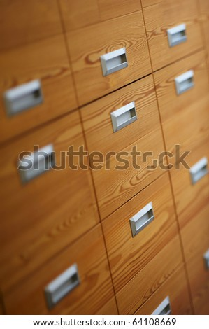 Detail of modern wooden office drawers