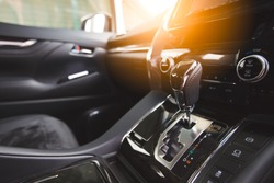 Detail of new modern car interior, Focus on gear