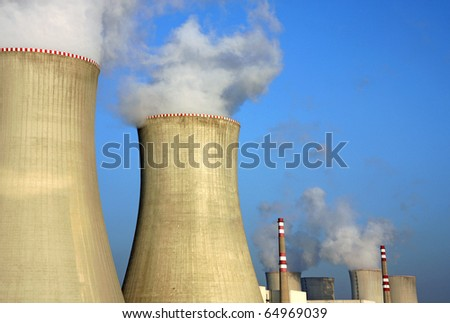 detail of nuclear power plant and cooling towers