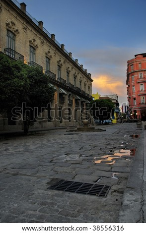 Detail of old havana street and typical architecture at sunset
