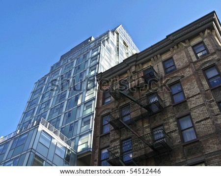 detail of old houses in New York City