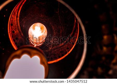 detail of old orange light light light #1435047512