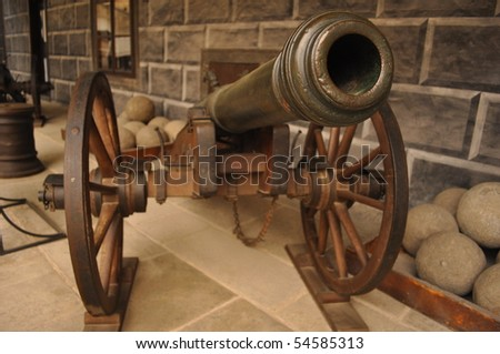 detail of old style cannon