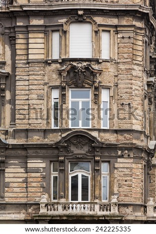 Detail of old traditional home damaged in second world war in Budapest, Hungary