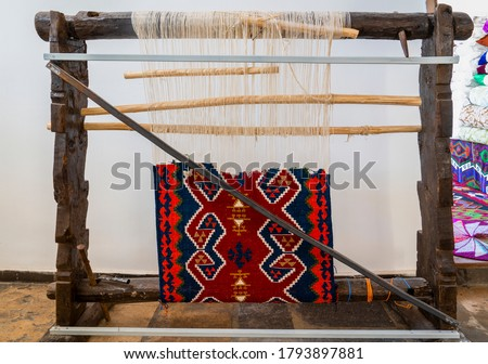 Detail of old Turkish loom for making rugs and carpets. Turkey Stok fotoğraf ©