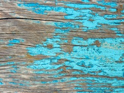 Detail of old wooden boards painted in light blue with several layers of shelled paint
