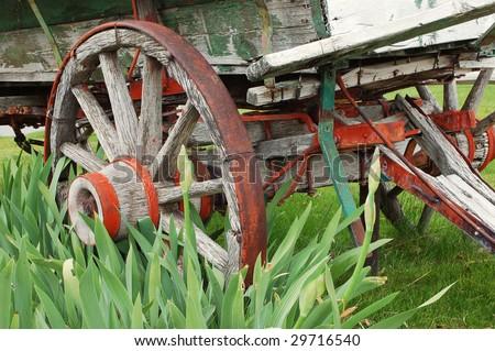 Detail of old wooden horse-drawn wagon; Oak Glen, California