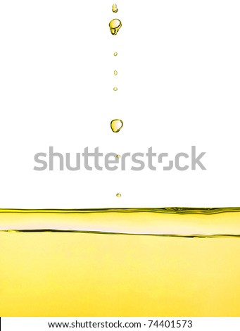Detail of olive oil liquid drop droplet