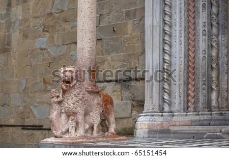 Detail of one of the lions supporting the columns of the right transept porch. Basilica of Santa Maria Maggiore, Bergamo Alta