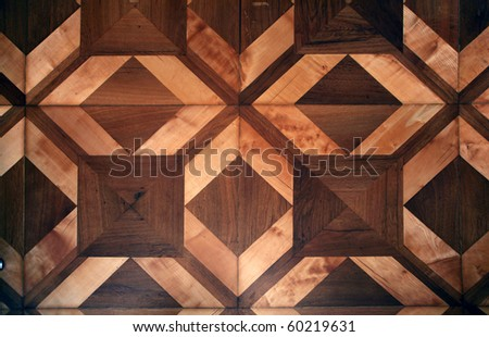 Detail of ornamental wooden pattern parquet floor