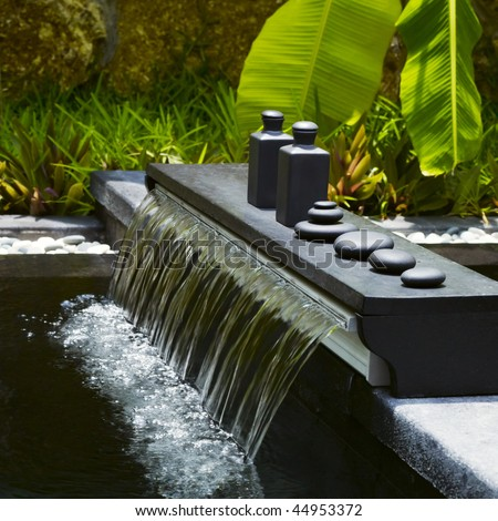 Detail of outdoor spa centre at tropical resort