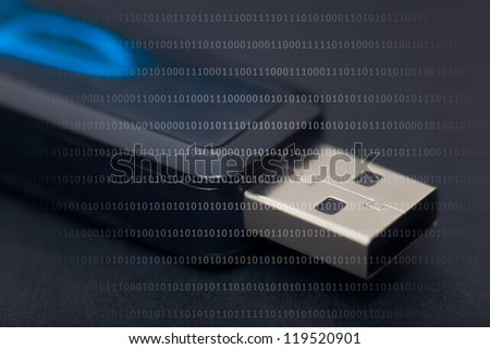Detail of pendrive in black background