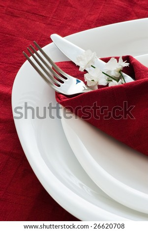 detail of place setting with dark red napkin