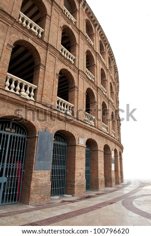 Detail of Plaza de toros (bullring) in Valencia, Spain. The stadium was built by architect Sebastian Monleon in 1851.
