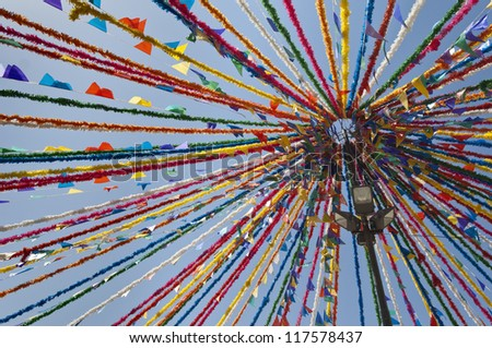 Detail of portuguese street traditional decorations in a summer festival, Alentejo, Portugal