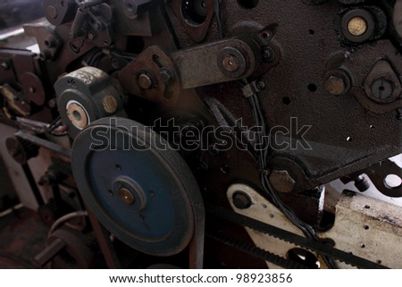 Detail of printing machine roller and belt grunge and old condition