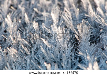 Detail of pure white frost on black background.