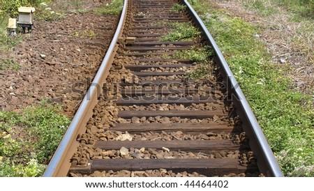 Detail of Railway railroad tracks for trains (16:9 aspect ratio)