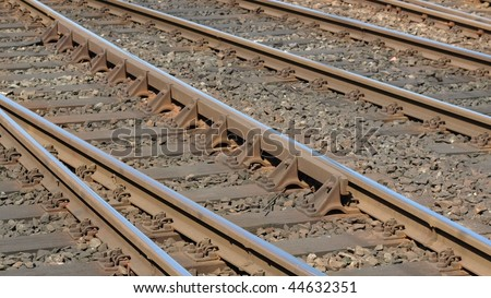 Detail of Railway railroad tracks for trains (16:9 aspect ratio)