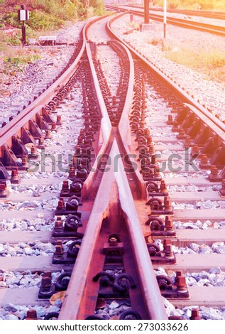 Detail of railway with soft light and soft focus style #273033626