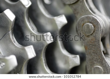 Detail of rear gears and chain set of mountain bike.