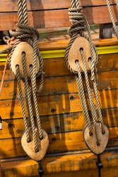 detail of rebuild historical Dutch wooden fluitship from the 17th century