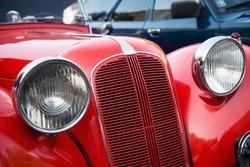 detail of red veteran car