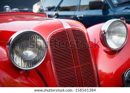 detail of red veteran car #158561384