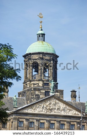 Detail of renovated Royal Palace in Amsterdam, The Netherlands,
