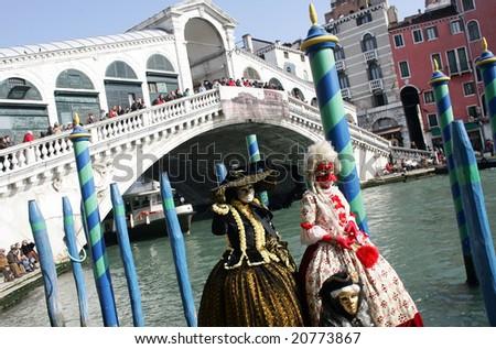 Detail of Rialto bridge in Venice during carnival, Italy