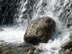 Detail of rock in a waterfall.
