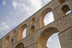 Detail of roman aqueduct in Kavala Greece