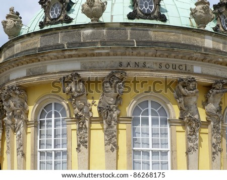 detail of Sanssouci palace in Potsdam (Germany) in sunny ambiance