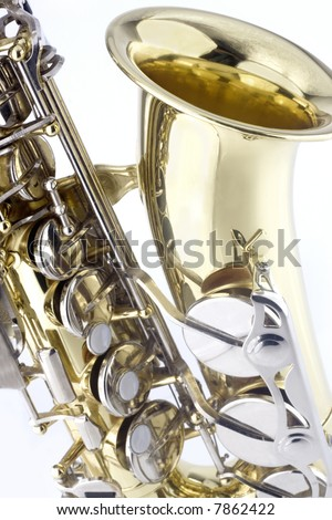 Detail of saxaphone isolated on white background